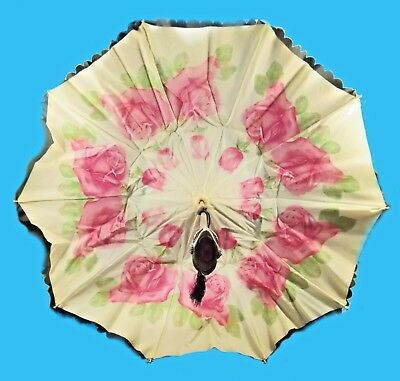 Stunning Victorian Double Canopy; Jeweled Handle & Tips  Parasol Umbrella Wow!!