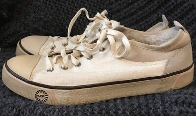 1f472d0c6ac UGG EVERA WOMEN'S Size 8.5 Beige Canvas Suede Lace Up Fur Lined Shoes S/N  1798