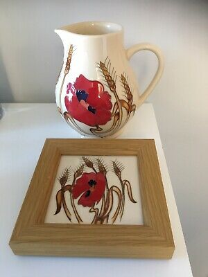 MOORCROFT HARVEST POPPY DESIGN JUG & PLAQUE EMMA BOSSONS. Fantastic combination.
