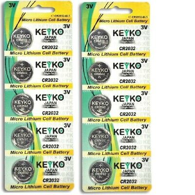 Lot of 10 PC KEYKO CR2032 WATCH BATTERIES 3V LITHIUM CR 2032 DL2032 BR2032