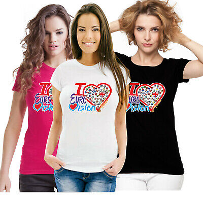 I Love Eurovision Song Contest 2019 Jerusalem Israel Music Fitted Ladies T Shirt