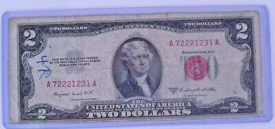 Two Dollar 1953 B Bill, $2 Note  Paper currency USA Jefferson Red Seal