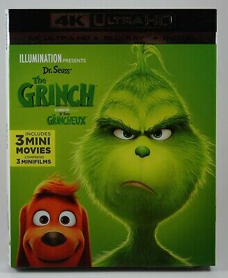 Dr. Seuss' The Grinch [4K Ultra HD + Blu-ray + Digital] BRAND NEW Slipcover