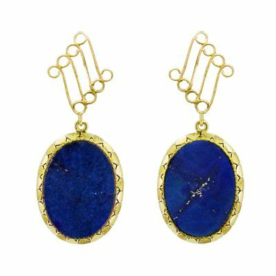 Awesome yellow gold estate dangle earrings, lapis lazuli, pyrite, special  M-F