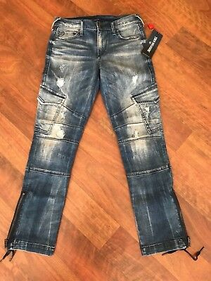 f571e620e95 True Religion Women s Halle Super Skinny Cargo Moto Jeans in Cast off Sz 24