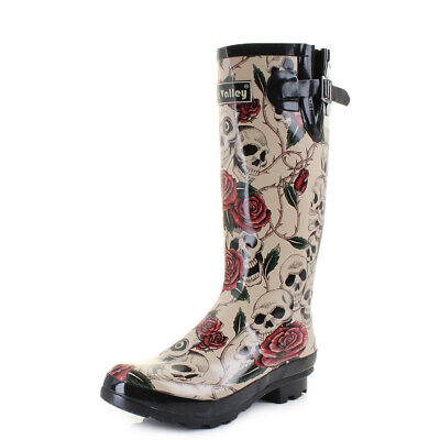 0921e0b3e56 WOMENS WYRE YORKIE Dog Black Print Wellies Wellington Boots UK Size ...