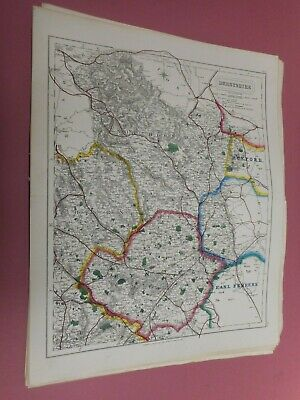 100% Original Derbyshire Fox Hunting Map By Hobson C1860/s Vgc Coloured