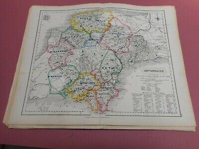 100% Original Devonshire Fox Hunting Map By Hobson C1860/s Vgc Coloured