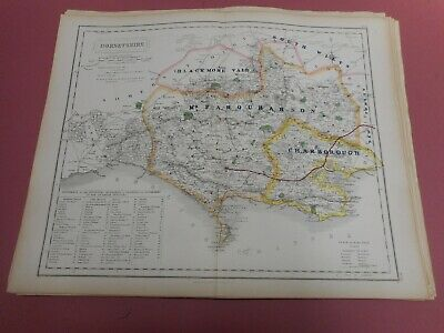 100% Original Dorsetshire Fox Hunting Map By Hobson C1860/s Vgc Coloured