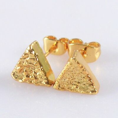 8mm Triangle Natural Agate Titanium Druzy Stud Earrings Full Gold Plated H117672