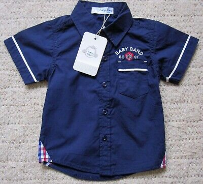 Bnwt Boys Baby Band Short Sleeve Collared Shirt Navy Blue Age 12 Months