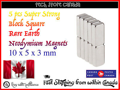 5 pcs Super Strong Block-Square Rare Earth Neodymium Magnets 10 x 5 x 3 mm