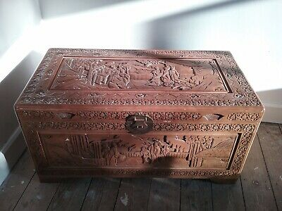 Large Vintage ORIENTAL Chinese Carved Camphor Wooden Chest, Storage Box