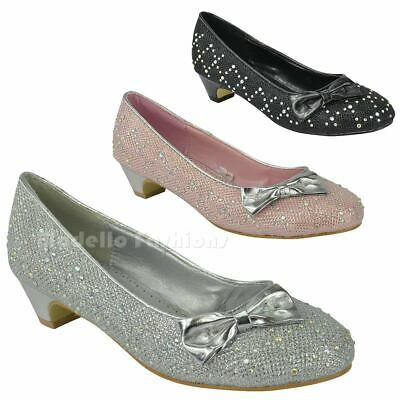 Girls Kids Low Heel Bow Dolly Diamante Pumps Evening Party Court Shoes Size 10-4