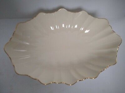 Lenox Ivory Gold Footed Oval Porcelain Bowl Scalloped Edge