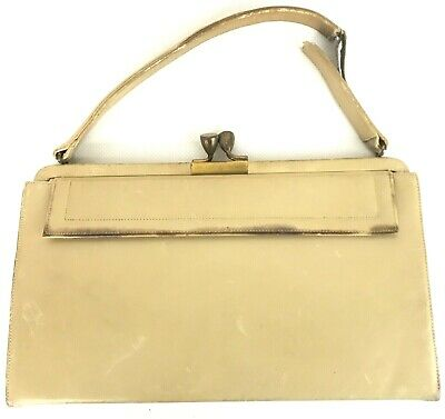 1950's Vintage Off White Leather Frame Bag Antique Brass Kissing Lock Clasp