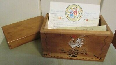 Vintage The Red Bird Line Dovetailed Wood Recipe Box With Handwritten Recipes