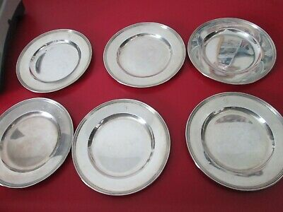 Set  6  Matching  STERLING - 6 in BREAD & BUTTER PLATES by MERIDIAN 13.5 toz