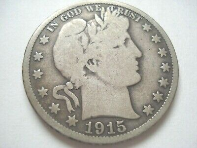United States Coin - 1915-D Liberty Barber 90% Silver US Half Dollar