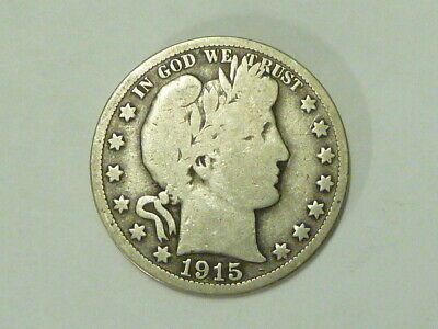 1915 S Us Barber Half Dollar 90% Silver --- Collectors Look Here  Free Shipping