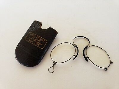 Antique Pince Nez Glasses and Leather Case From NY Optician