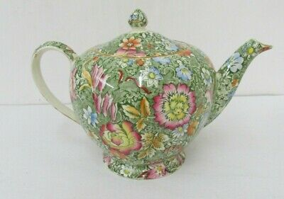 Floral Garden Green Albans Teapot And Lid Pattern # 4547 Royal Winton