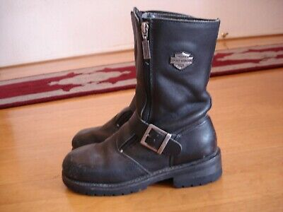 17cb43375f53 HARLEY-DAVIDSON Women s (7.5) Black Leather Double-Zip Ankle Boots  Motorcycle