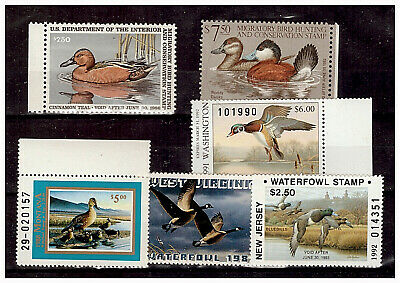 US DUCK STAMP COLLECTION, MINT / NH - TWO FEDERAL and FOUR STATE; FACE $33.50