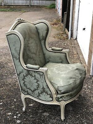 Pretty French Wing Back Armchair  Louis XV Style