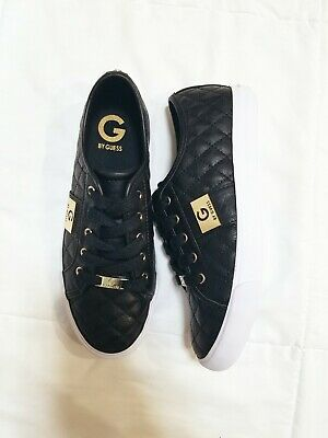 e0f4fbc2928c G by GUESS Women's Backer Lace-Up Sneakers Size 8.5 Black & Gold Shoes