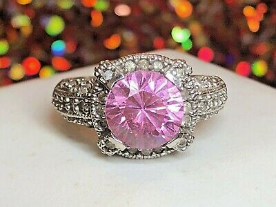 Estate Vintage 14K  White Gold Pink Topaz &   Natural Diamond Ring Engagement