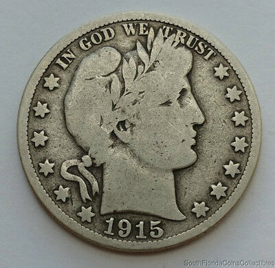 1915-S 90% Silver Barber Half Dollar Very Good Condition