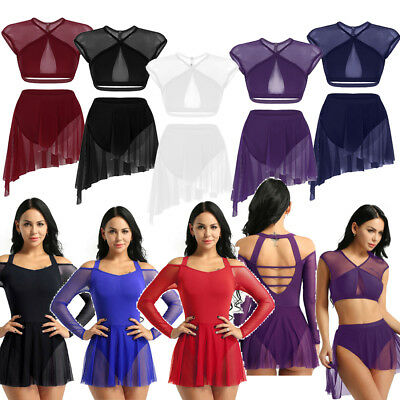 Adult Women' Ballet Dance Gymnastics Skate Leotard Dress Lyrical Skirts Bodysuit