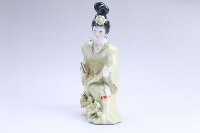 Exquisite Chinese hand carved Enamel porcelain beautiful woman statue aa03
