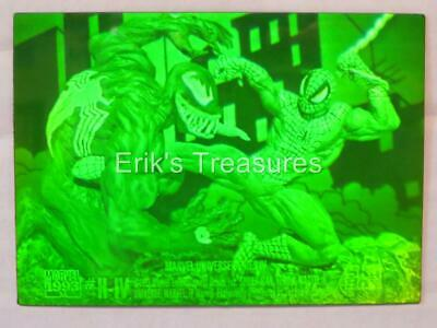 1993 Marvel Universe Spider-Man vs Venom H-IV Hologram Card GREEN TINT NM-MINT!!