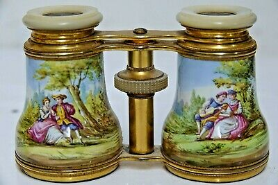 Stunning Quality Pair Of Early Opera Glasses Porcelain Decoration Extremely Rare