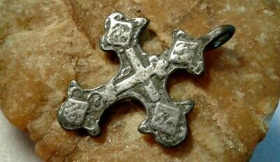 "RARE ANTIQUE c.15-17th CENTURY SOLID SILVER ORTHODOX CROSS ""FLEUR-DE-LIS"""