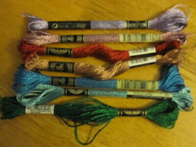 Lot of 7 DMC Metallic Embroidery Floss Skeins
