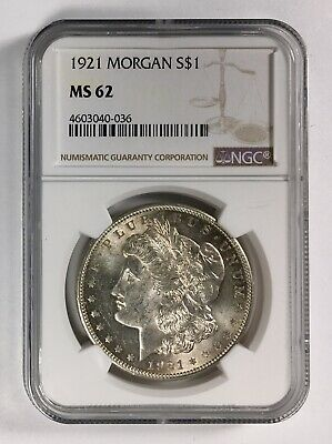 1921 Morgan Silver Dollar – NGC MS 62