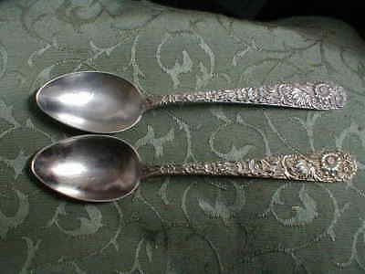 "Two Vintage S. Kirk & Son Sterling Silver Repousse 5 3/4"" Teaspoons"