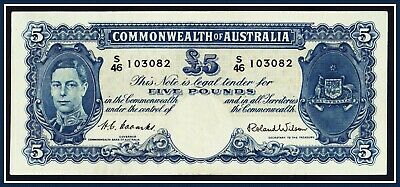 gVF 1952  5 Pound(KGVI)  Banknote Coombs/Wilson S/46-103082 R-48