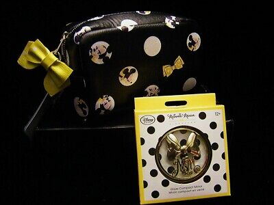 Disney MINNIE MOUSE SIGNATURE GLASS COMPACT MIRROR & COSMETIC MAKE UP BAG