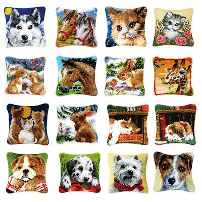 DIY Rabbit Cat Dog Wolf Latch Hook Kit Rug Pillowcase Cushion Embroidery Carpet