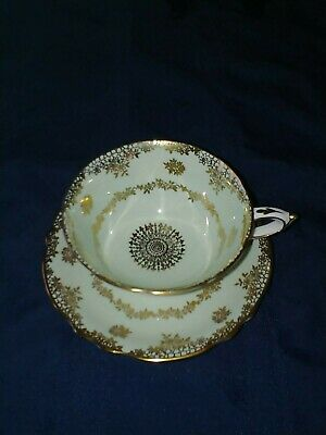 Paragon TeaCup and Saucer - Pale Green, Gold Filigree