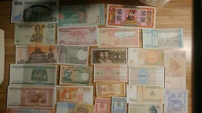 25 Banknotes Different Foreign Currency History Rare Notes Free Shipping