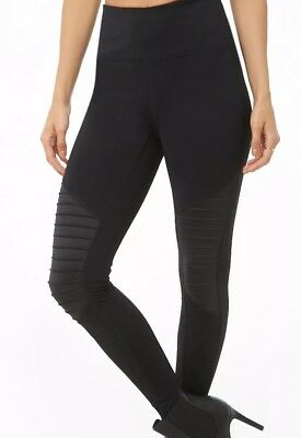 3e6983219e6ea7 NWT FOREVER 21 Active Leggings Sz M Black with Rosegold/White Side ...