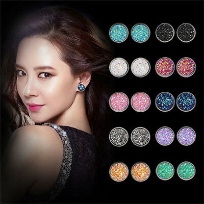 Women Natural Crystal Round Shape Multi Color Stud Earrings Jewelry CS
