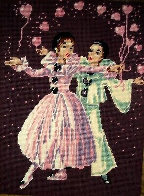 Vintage Cross Stitch Tapestry Picture On Hardbacking Ballet Dancers