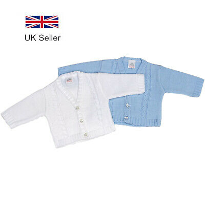 Baby Boys Cardigan - Long Sleeve Knitted Blue & White, 0-18 Months - Dandelion