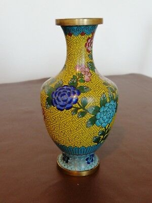 Vintage Small Chinese Brass Cloisonné Vase With Floral Decoration x 2